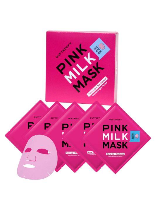 DUFT & DOFT Pink Milk díjnyertes feszesítő, ránctalanító és bőrszínkiegyenlítő díjnyertes maszkok (5 db)