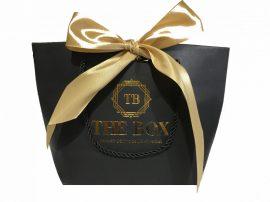 Exkluzív TheBox ajándéktáska pezsgőszínű szatén szalaggal