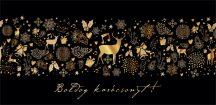 Karácsonyi aranyozott ajándékkísérő zsebes képeslap ( borítékos)