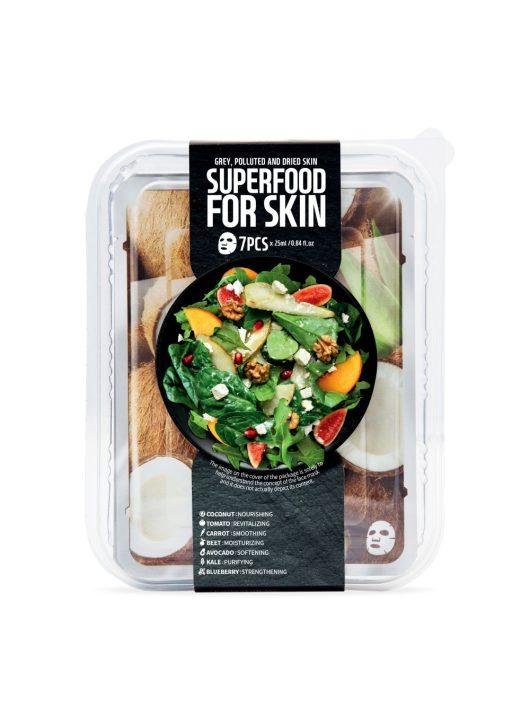 FARMSKIN Superfood for Skin arcmaszk szett szürke és száraz bőrre (7 darabos)