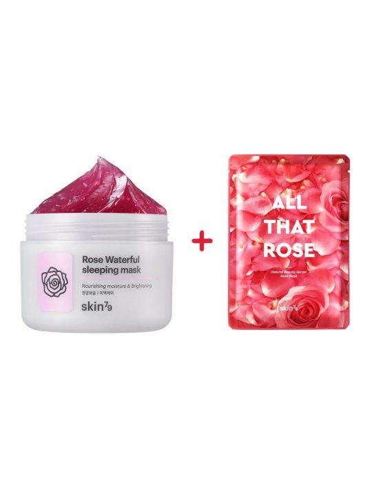SKIN79 rózsakivonatos kényeztető, hidratáló alvómaszk (éjszakai krém) + kényeztető rózsa maszk